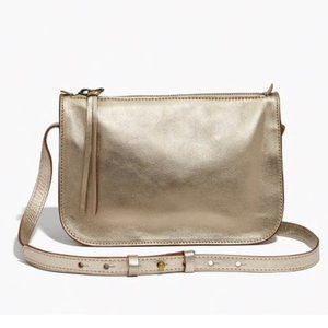 Madewell | Leather Simple Crossbody Bag in Gold